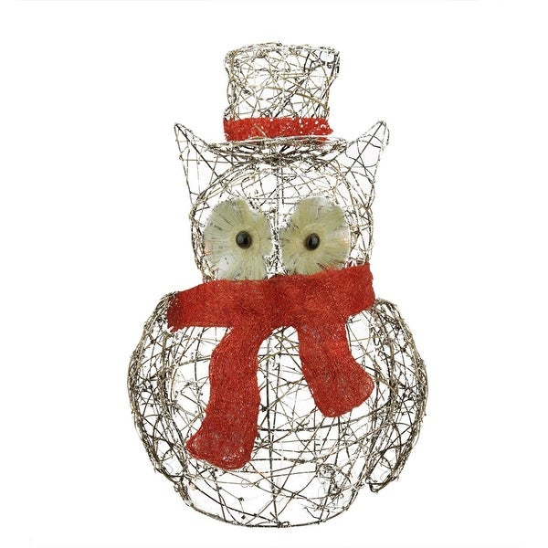 "21"" Lighted Glitter Rattan Owl Christmas Outdoor Decoration - brown"