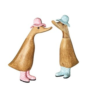 """Dcuk Duck Wearing Wellies Garden Sculpture - Duck in Rain Boots & Hat, Hand Carved & Painted Bamboo Wood, 9"""" - 9 in."""