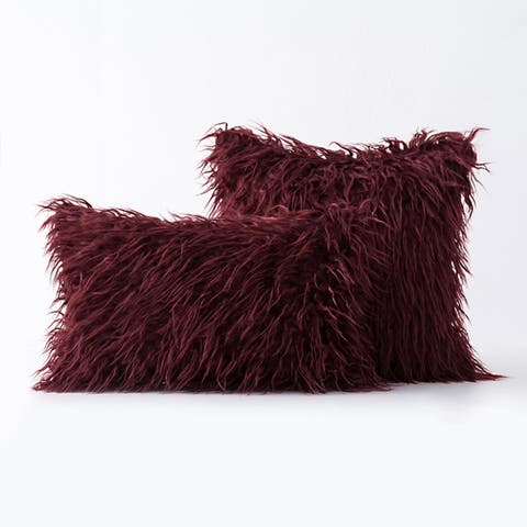 """Airi Home Luxury Collection Faux Fur Merino Tibetan Throw Pillows - Set of 2 Decorative Couch Pillows 18 x 18"""" and 12 x 20"""""""