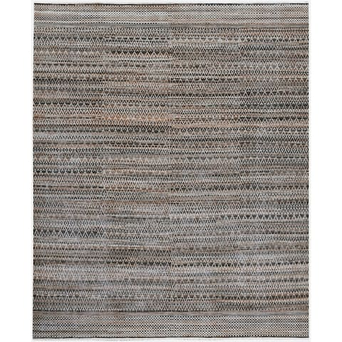 Lara Rae Handmade Knotted Geometric Wool Blend Gray/Brown Area Rug