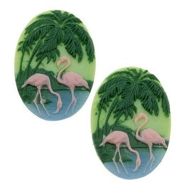 Lucite Oval Cameos - Green With Pink Flamingos And Palm Trees 25x18mm (2)