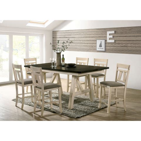 Furniture of America Caduceus Ivory 7-piece Counter Table Set