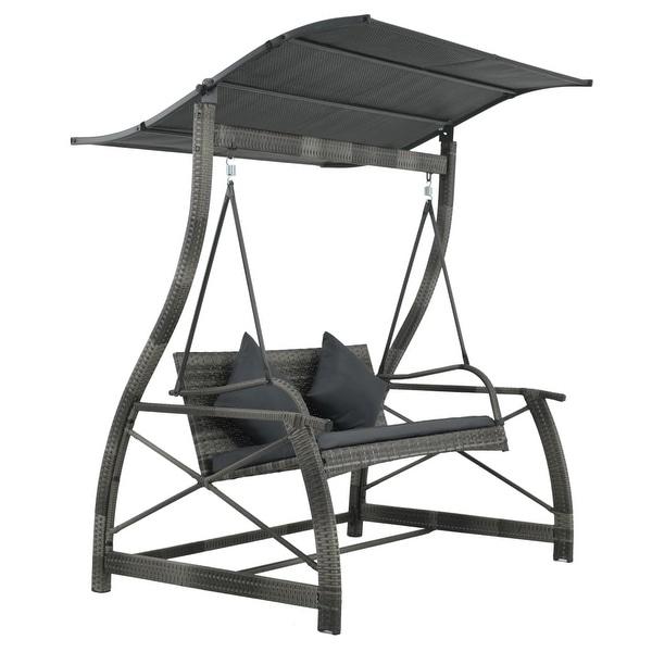 vidaXL Porch Swing Chair Poly Rattan Wicker Gray Outdoor Garden Bench Seat