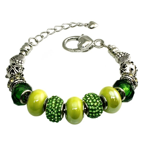 Multi-color Emerald and Green Beaded Charms Metal Alloy Bracelet - 7 inches