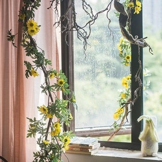 """RusticReach Artificial Yellow Sunflower Vine 67"""" Long - Green"""
