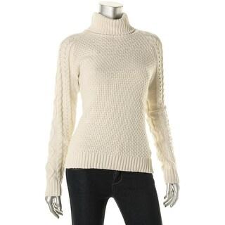Lauren Ralph Lauren Womens Cable Knit Long Sleeves Turtleneck Sweater - L