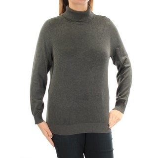 Womens Gray Long Sleeve Turtle Neck Top Size OX