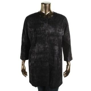 Eileen Fisher Womens Plus Collarless Textured Coat