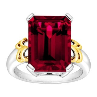 10 ct Created Ruby Cocktail Ring in Sterling Silver & 14K Gold - Red