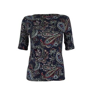 Charter Club Women's Paisley-Print Elbow Sleeve Top - intrepid blue combo - pxs