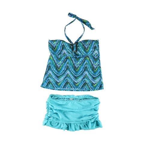 Island Escape Womens Patterned Ruffle Skirtini 2 Piece Tankini, Blue, 14