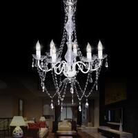 Gymax Crystal Candle Chandeliers Lighting 6 Lights Pendant Ceiling Lights Fixture Lamp