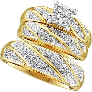 10k Yellow Gold Diamond Cluster Womens Mens Matching Trio Wedding Bridal Ring Set 1/4 Cttw - White