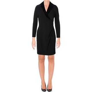Lauren Ralph Lauren Womens Petites Party Dress Ruched Faux Wrap