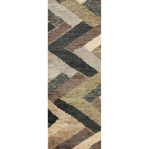 "Chevron Style Moroccan Oriental Runner Rug Hand-knotted Hallway Carpet - 2'5"" x 7'10"""