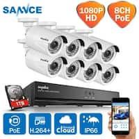 SANNCE 1080P 8CH 8PCS POE Network Video Security System Waterproof Camera System