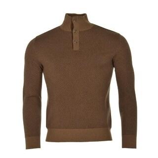 Polo Ralph Lauren Big and Tall Herringbone Sweater 3XLT Brown Merino Wool