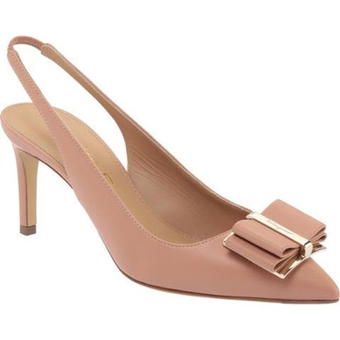 Salvatore Ferragamo Women's Zahir Leather Slingback Heel New Blush Nappa Leather