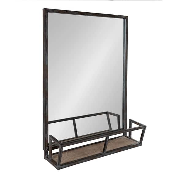 Kate And Laurel Jackson Rustic Black Metal Organizer Mirror With Shelf 22x29 Overstock 13109175 Black Brown