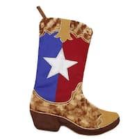 "18.5"" Shadow Velveteen Texas Flag Cowboy Boot Christmas Stocking - Multi"