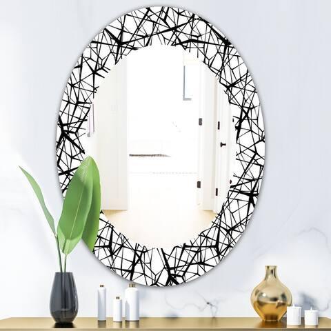 Designart 'Web Pattern' Modern Mirror - Oval or Round Wall Mirror - Black