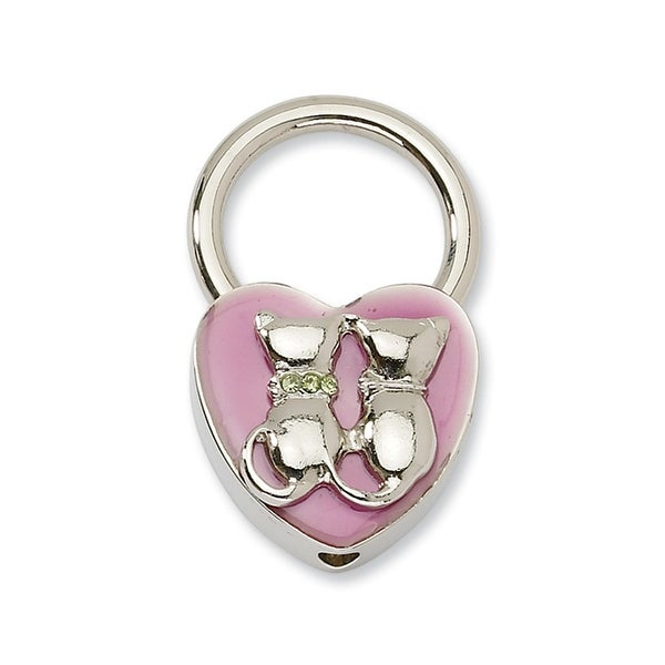 Silvertone Cats w/Crystals Pink Enamel Key Fob