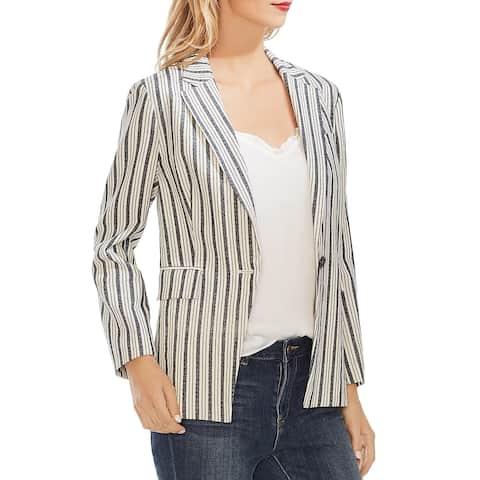 Vince Camuto Womens One-Button Blazer Linen Blend Striped - Natural Sand