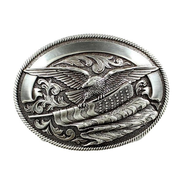 Nocona Western Belt Buckle Oval Eagle Flag Roped Silver - 3 1/4 x 4