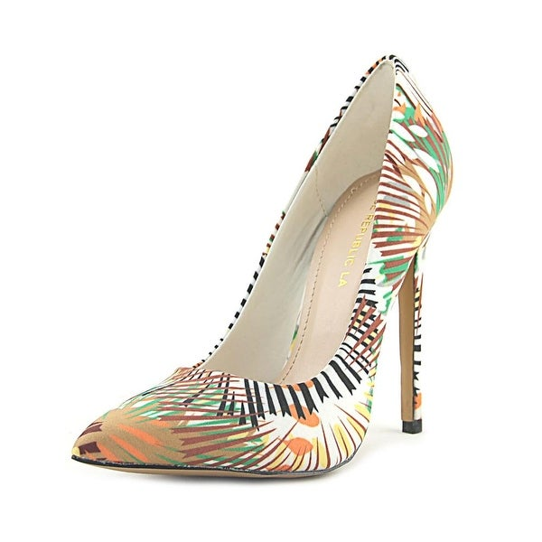 Shoe Republic LA Cajun Women Pointed Toe Canvas Green Heels