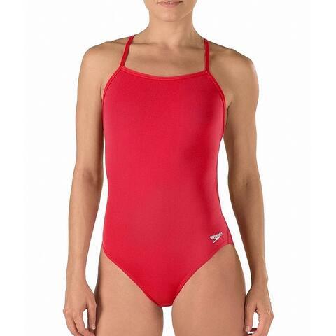 Speedo Womens Swimwear Red Size 14 Open-Back Endurance One-Piece
