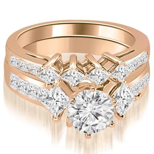 2.85 cttw. 14K Rose Gold Channel Set Princess and Round Cut Diamond Bridal Set