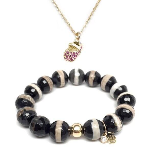 Black & White Agate Bracelet & Pink CZ Baby Shoe Gold Charm Necklace Set