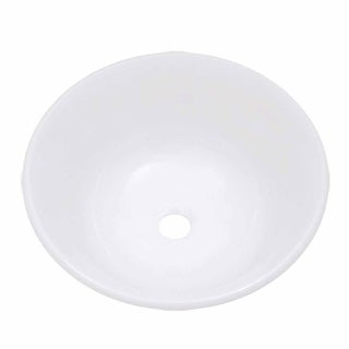 Mint Tempered Glass Vessel Sink with Drain, White Single Layer Barrel Shape Bowl Sink
