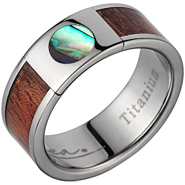 Titanium Wedding Band With Koa Wood & Circular Abalone Inlay 8mm