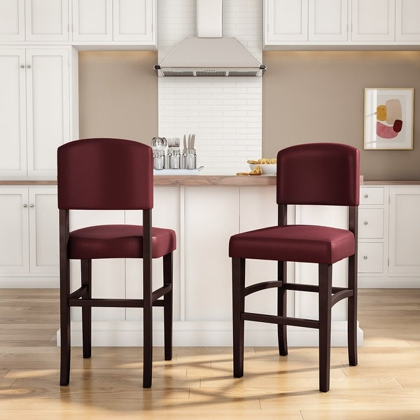Linon Monte Carlo Stationary Counter Stool, Dark Red Vinyl. Opens flyout.