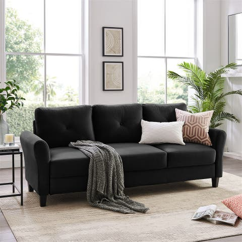 """86"""" Mid-Century Modern Plush Fabric Sofa Couch for Living Room"""