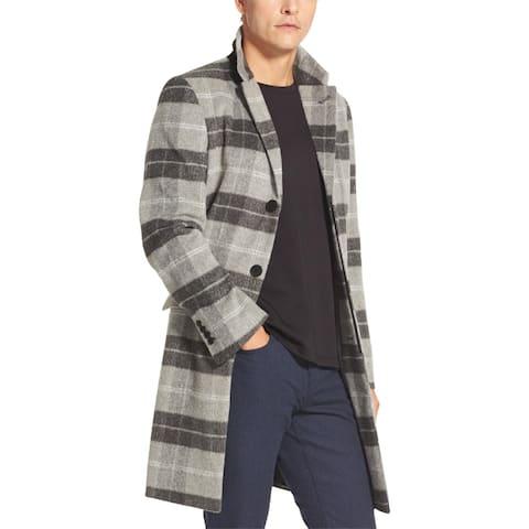 DKNY Mens Top Coat Wool Blend Plaid - Castlerock