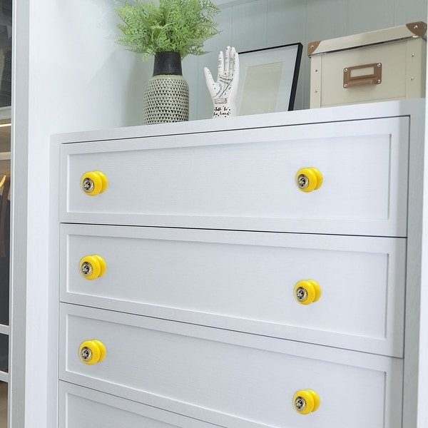 Ceramic Knobs Vintage Round Drawer Pull Handle Cupboard Cabinet Knob 6pcs Yellow