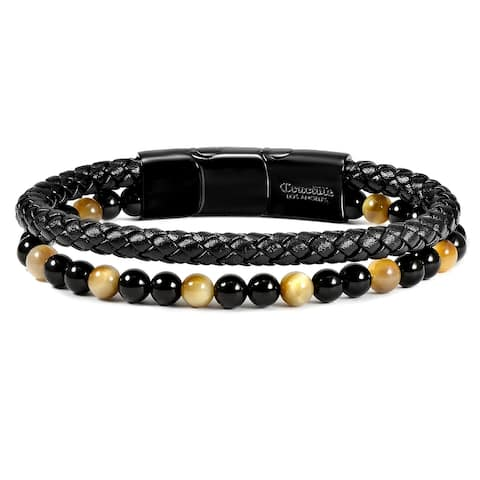 """Natural Stone Beaded and Leather Layered Bracelet - 8.25"""" + Extender"""
