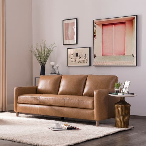 "Strick & Bolton Lane Camel Leather Sofa - 81""Wx36""Dx36""H"