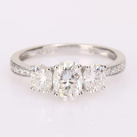 Miadora 1 4/5ct DEW Moissanite 3-Stone Engagement Ring in 10k White Gold