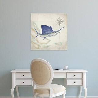 Easy Art Prints Rick Novak's 'Sailfish Map II' Premium Canvas Art