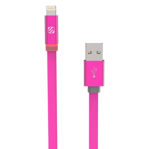 SCOSCHE FlatOut LED 3' Charge & Sync Cable with LED Indicator for Lightning devices
