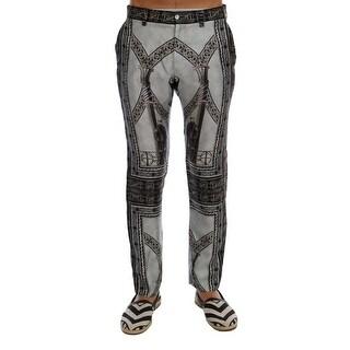 Dolce & Gabbana Gray 100% Silk Chinoiserie Print Pants