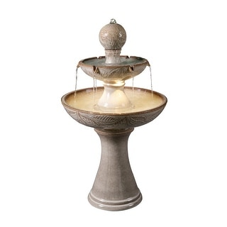 "Hillsby Ivory Ceramic Tiered Fountain with Light - 22"" x 38"""