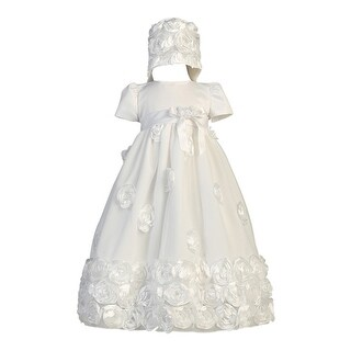 Baby Girls White Floral Ribbon Tulle Dress Bonnet Baptism Set 0-18M