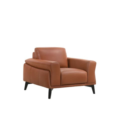 Como Modern Top Grain Leather Lounge Armchair, Terracotta, by New Classic Furniture