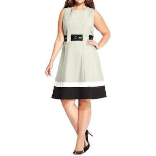 Calvin Klein Womens Plus Casual Dress Colorblock Sleeveless