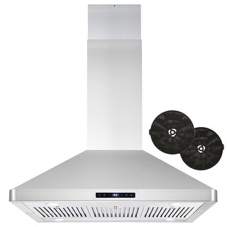 36 in. Ductless Island Mount Range Hood in Stainless Steel with LED Lighting and Permanent Filters