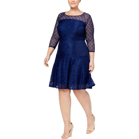 NY Collection Womens Plus Party Dress Lace 3/4 Sleeve